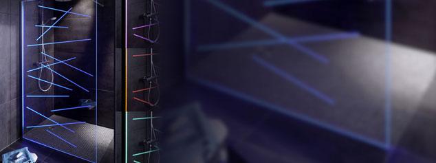 Paroi de douche éclairée LED. Co-développement NEOLUX LED lighting solutions et Glassolutions Saint-Gobain